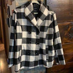 Rampage Buffalo black and white plaid pea coat